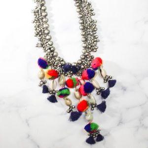 Zara Jewelry Tribal Coin Necklace Shells Pom Poms